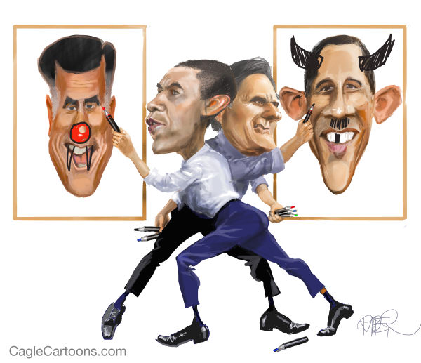 Obama and Romney scrawling each other's image during 2012 Presidential race-Google images