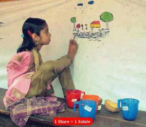 A handicapeed girl artist drawing by her leg.