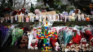 Makeshift memorial at Sandy Hook Elementary,New Town, Conn.