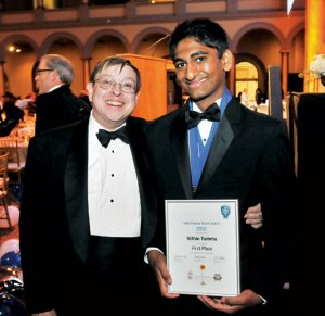 Nithin  Tuma,17,with Intel Science Talent Search judje Andy Yeager
