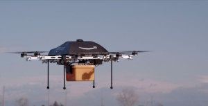 "An Amazon ""Prime Air"" delivery drone prototype is shown in action in this photo from Amazon"