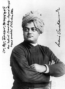 "Swami Vivekananda in Chicago, 1893  On the photo, Vivekananda has written in Bengali, and in English: ""One infinite pure and holy—beyond thought beyond qualities I bow down to thee"" - Swami Vivekananda"