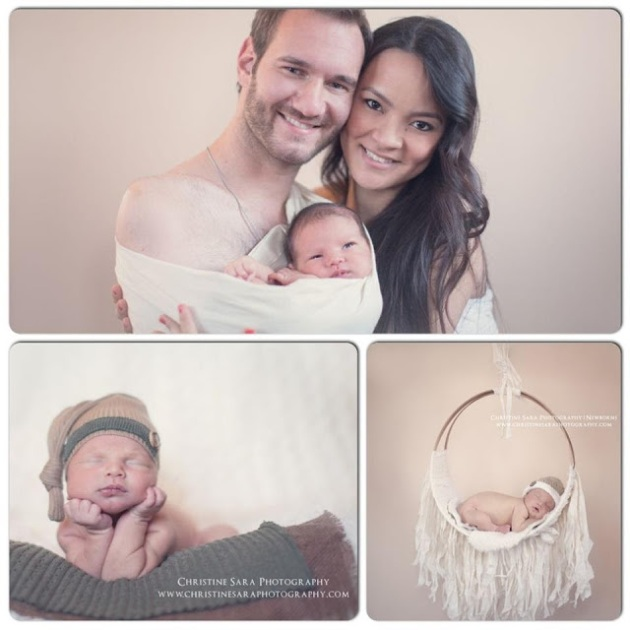 Nick Vujicic with wife Kanae and new born son  Kiyoshi