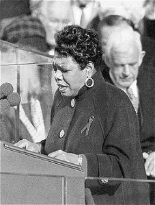 "Angelou reciting her poem, ""On the Pulse of Morning"", at President Bill Clinton's inauguration, January 1993"