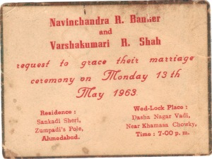 Invitation Card of My Marriage-1963