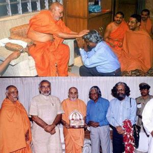 Pramukh Swami with ex-President Kalam and Narendra Modi